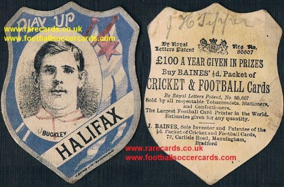 1880's Halifax RLFC rare rugby card inset Buckley Baines Litho Manningham